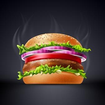 Délicieux burger réaliste avec rencontre