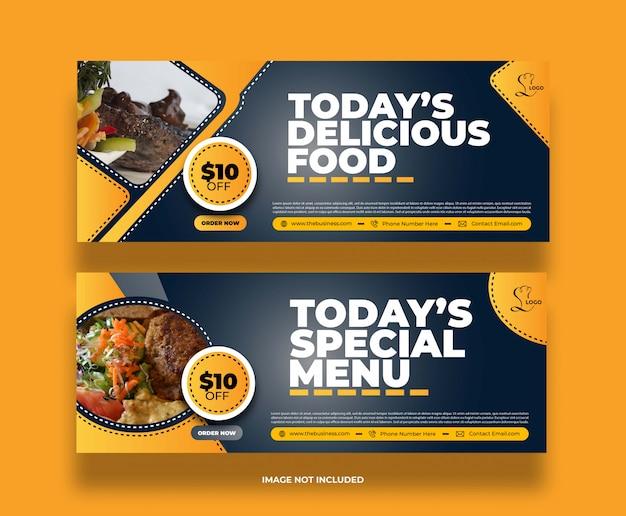 Délicieux concept alimentaire délicieux restaurant bannière de médias sociaux