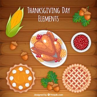 Délicieux dîner de thanksgiving avec la dinde et des pâtisseries