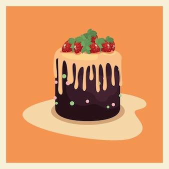 Délicieux gâteau d'anniversaire avec des fruits et de la crème
