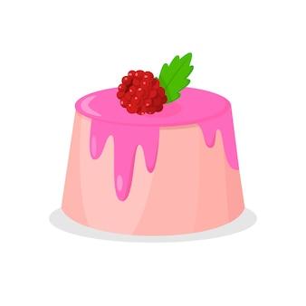 Délicieux gâteau avec illustration vectorielle framboise