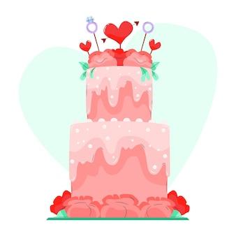Délicieux gâteau de mariage avec topper