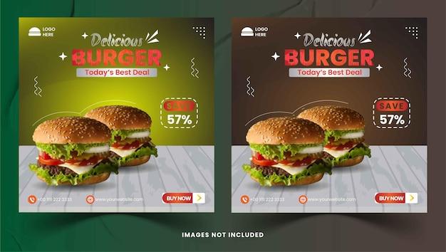 Délicieux hamburger et menu alimentaire sur les médias sociaux publication instagram