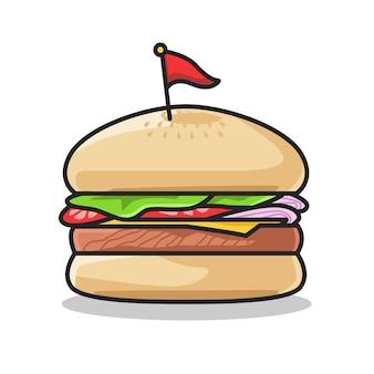 Délicieux hamburger de restauration rapide avec des légumes dans une jolie illustration d'art en ligne
