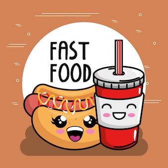 Délicieux hot-dog au caractère soda kawaii