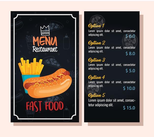 Délicieux hot-dog restaurant de restauration rapide carte de menu