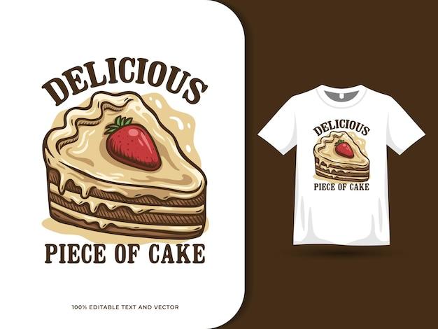 Délicieux logo de nourriture de dessin animé de gâteau aux fraises au chocolat et conception de t-shirt