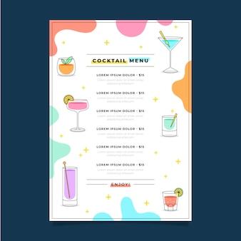 Délicieux menu du restaurant à cocktails frais