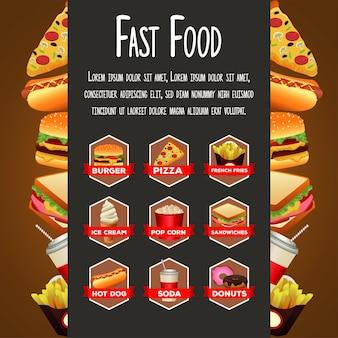 Délicieux menu de paquet de restauration rapide avec modèle de lettrage dans le cadre