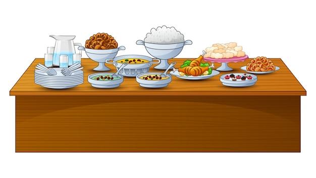 Un délicieux menu pour la soirée iftar est sur la table