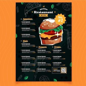Délicieux menu de restaurant avec hamburger