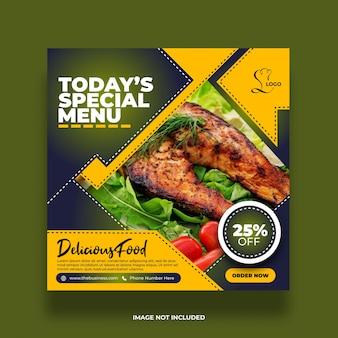Délicieux menu spécial créatif restaurant nourriture délicieuse bannière de médias sociaux