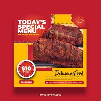Délicieux menu spécial minimal créatif coloré restaurant nourriture délicieuse bannière de médias sociaux