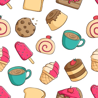 Délicieux modèle sans couture de pâtisserie avec pudding, biscuit, crème glacée et café sur fond blanc
