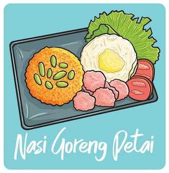 Délicieux nasi goreng petai un plat traditionnel d'indonésie