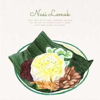Délicieux nasi lemak prêt à servir