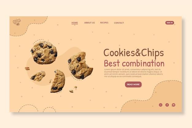 Délicieux page de destination des cookies