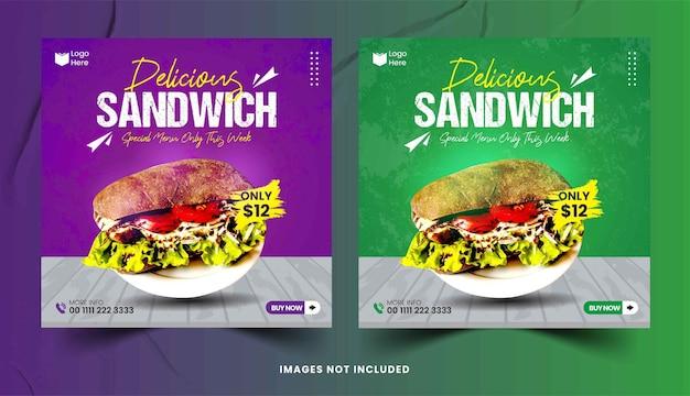 Délicieux petit-déjeuner sandwich ensemble de médias sociaux modèle de publication
