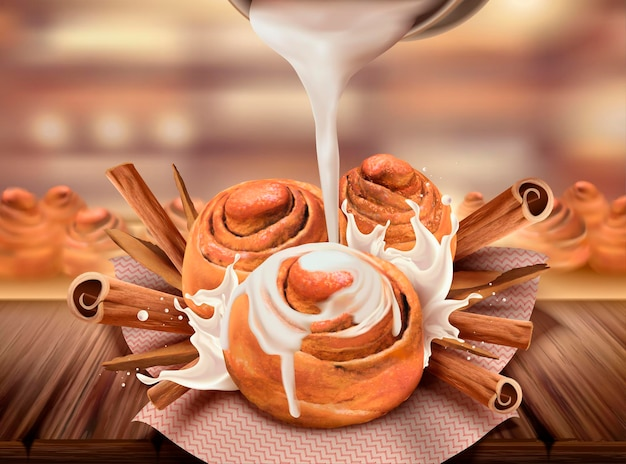Délicieux petits pains à la cannelle avec du lait concentré et des herbes rou gui, style 3d