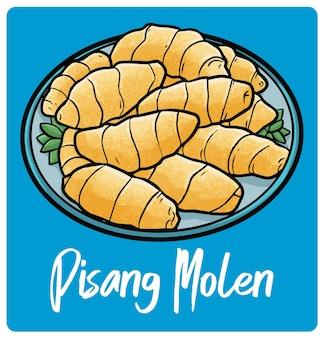 Délicieux pisang molen sur une assiette une banane frite traditionnelle de l'ouest de java en indonésie