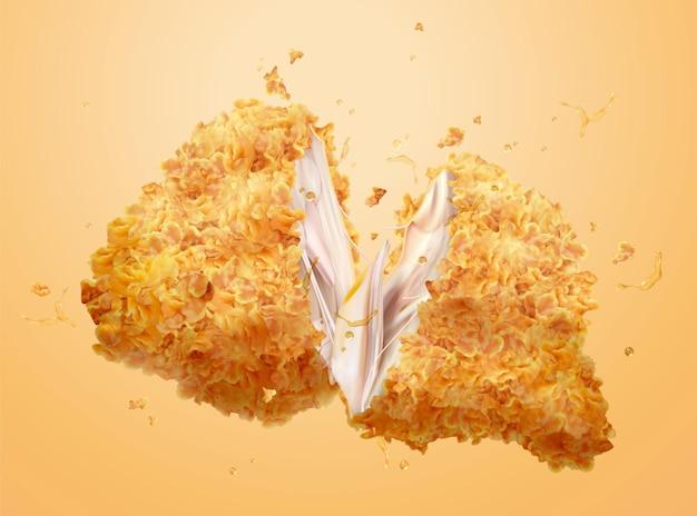 Délicieux poulet cuit croustillant en illustration 3d