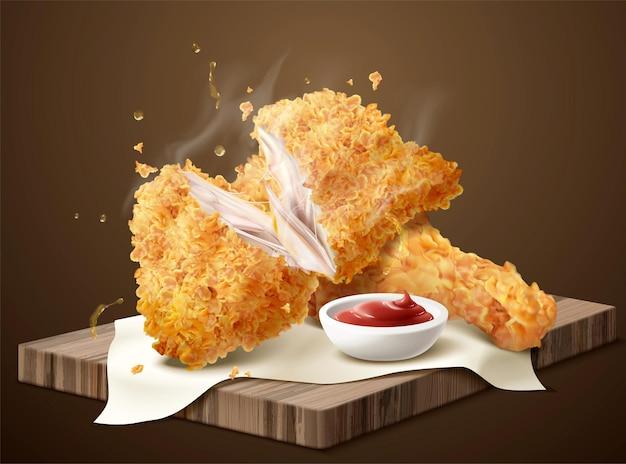 Délicieux poulet cuit croustillant avec trempette sur plaque de bois en illustration 3d