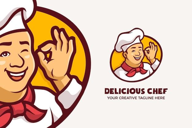 Délicieux restaurant chef mascotte caractère logo modèle