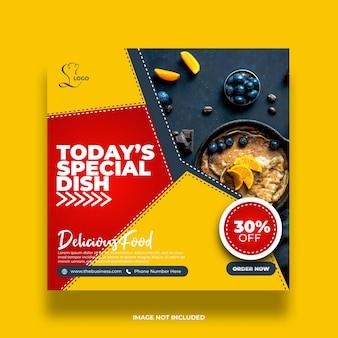 Délicieux restaurant offre un plat spécial alimentaire médias sociaux post abstract modèle premium