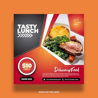 Délicieux restaurant sain savoureux déjeuner alimentaire médias sociaux résumé modèle de publication