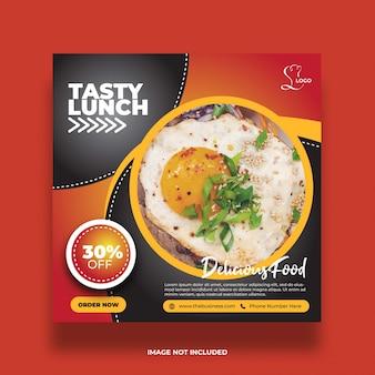 Délicieux restaurant savoureux déjeuner nourriture saine médias sociaux modèle de publication abstraite