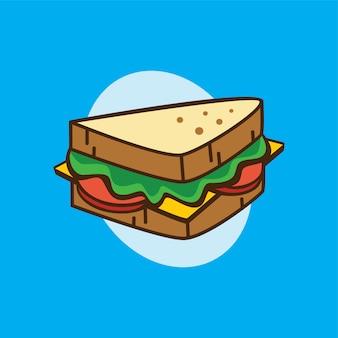 Délicieux sandwich délicieux pour le vecteur de thème de dessin animé de petit déjeuner
