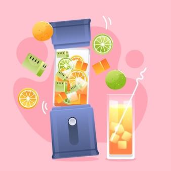 Délicieux smoothie dans un verre mélangeur