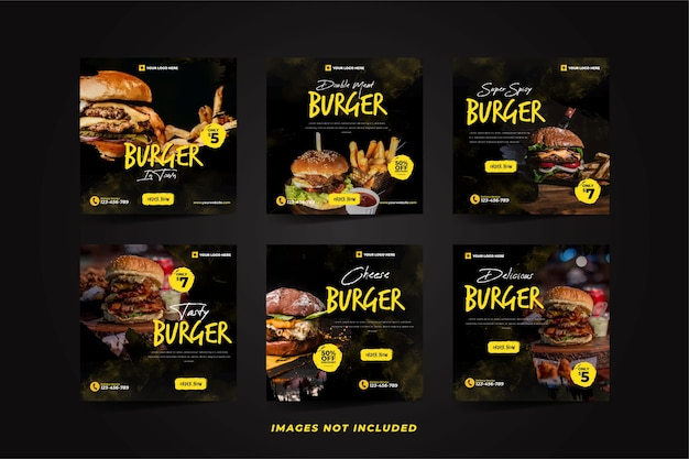 Delicious burger social media promotion for instagram template