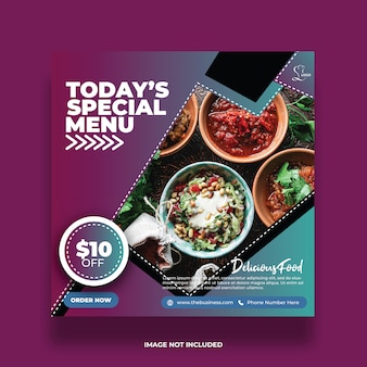 Delicious today's special menu restaurant abstract food social media post coloured promotion template