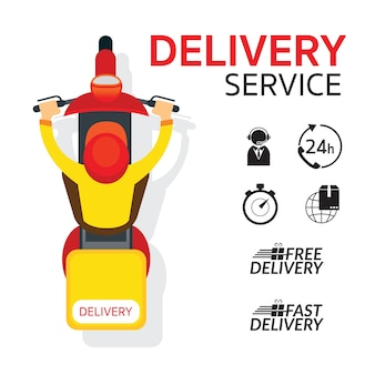 Delivery boy ride scooter moto vue de dessus ou de dessus