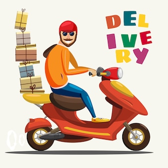 Delivery boy ride scooter motorcycle service, order, worldwide shipping, fast and free transport