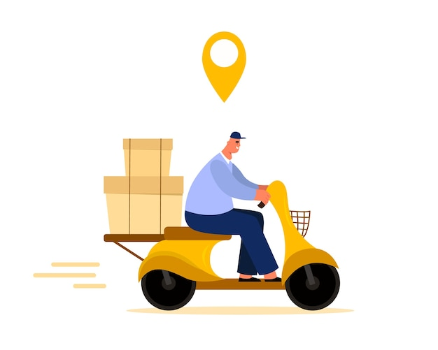 Delivery man isolated monte un vélo dans un style plat