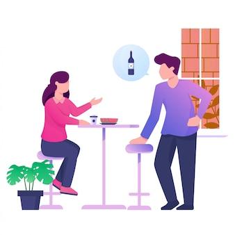 Demandant à boire avec illustration de petite amie
