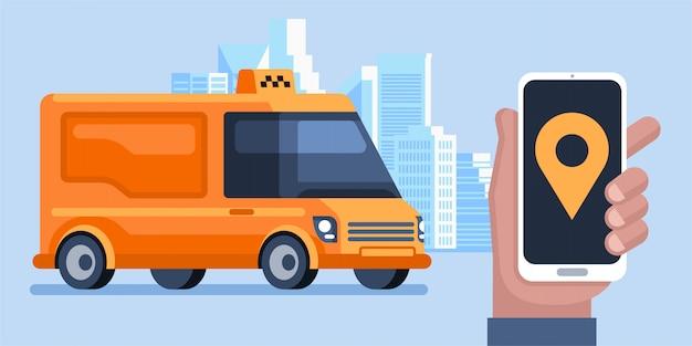 Demande de service de taxi pour application mobile en ligne. homme appeler un taxi par bannière d'illustration de téléphone