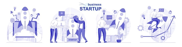 Démarrage d'entreprise isolé dans un design plat les gens lancent un nouveau projet développent une stratégie de réussite