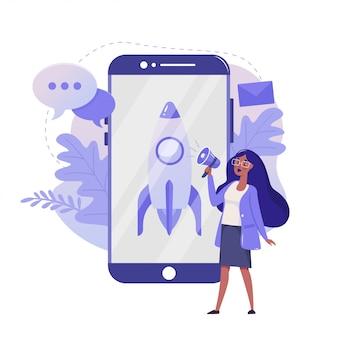 Démarrage de l'entreprise et lancement de l'illustration plate du projet. conception de couleur mobile business. femme avec smartphone et concept coloré de fusée, isolé sur fond blanc.