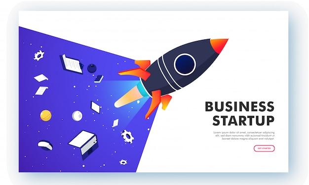 Démarrage d'entreprise en ligne, ordinateur portable isométrique et tablette