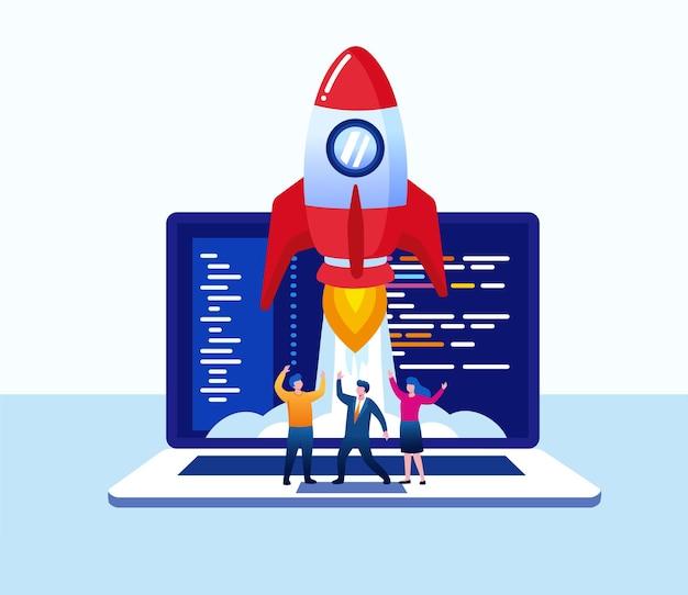Le démarrage de l'entreprise représente avec une fusée. projet, développeur, programmeur. illustration vectorielle