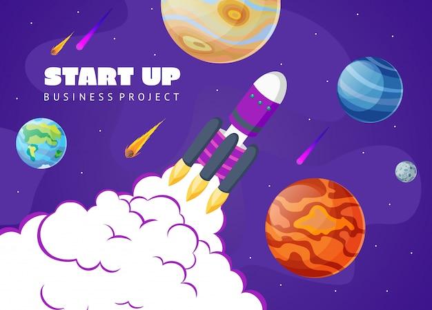 Démarrage de fond d'espace concept avec fusée et planètes