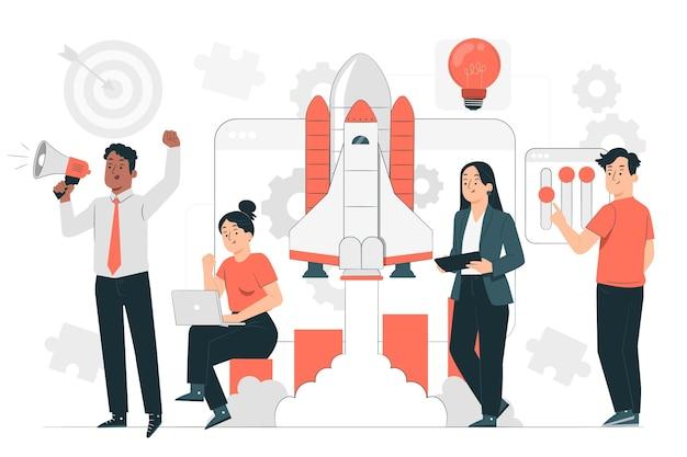 Démarrage d'une illustration de concept de projet d'entreprise