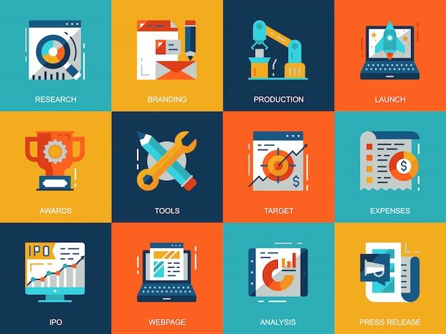 Démarrage plat conceptuel votre jeu de concepts d'icônes de projet