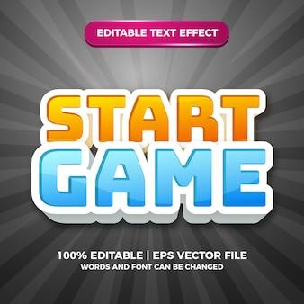 Démarrer le jeu effet de texte modifiable style de bande dessinée comique 3d