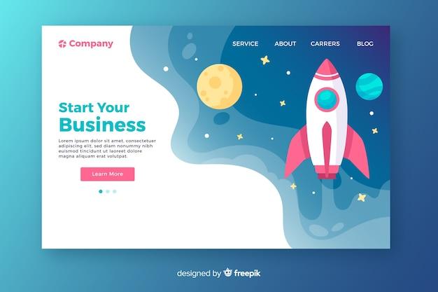 Démarrer votre page d'atterrissage de fusée d'affaires