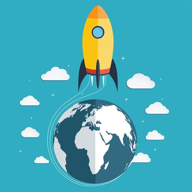 Démarrez la fusée spatiale dans l'espace.