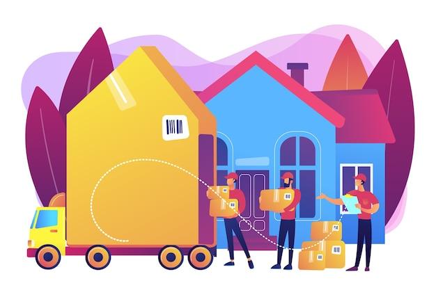 Déménagement à domicile, boîtes clients et conteneurs en carton dans un camion